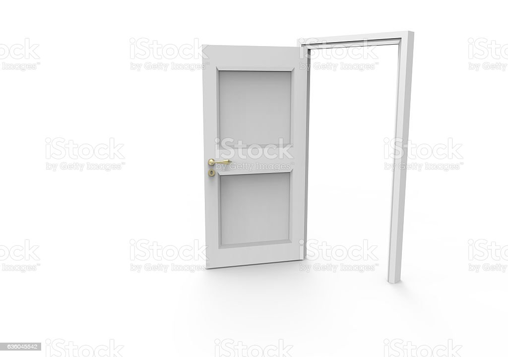 Open door isolated on white stock photo