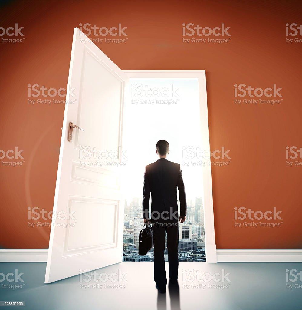 open door to city stock photo