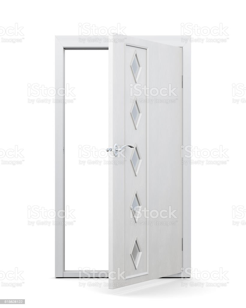 Open door with glass inserts isolated on white background. stock photo