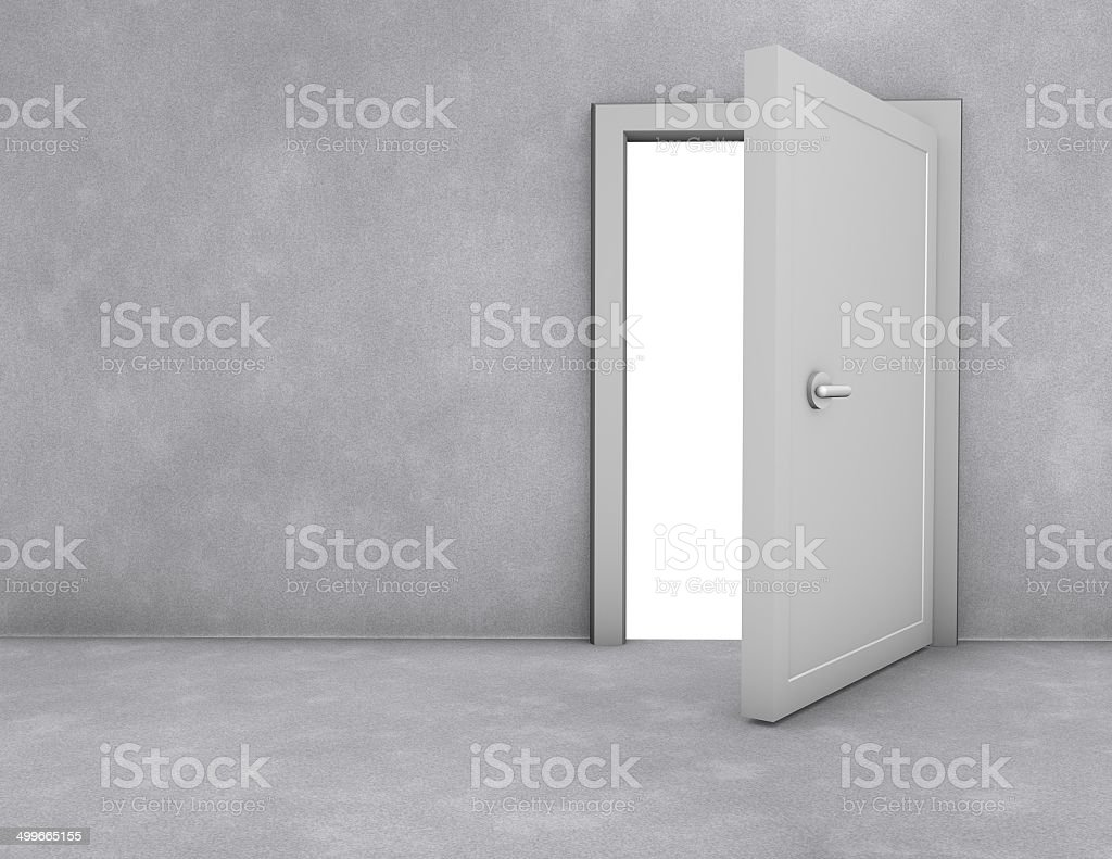 open doors simple scene with copy space, freedom and opportunity stock photo