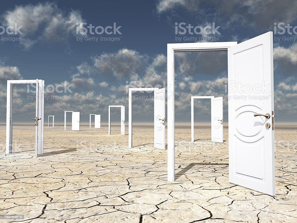 Open doorways stock photo