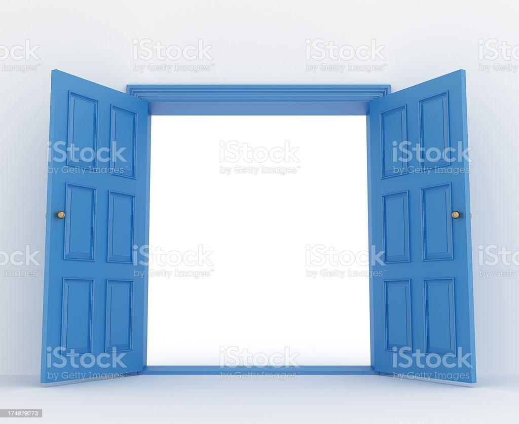 open double door stock photo