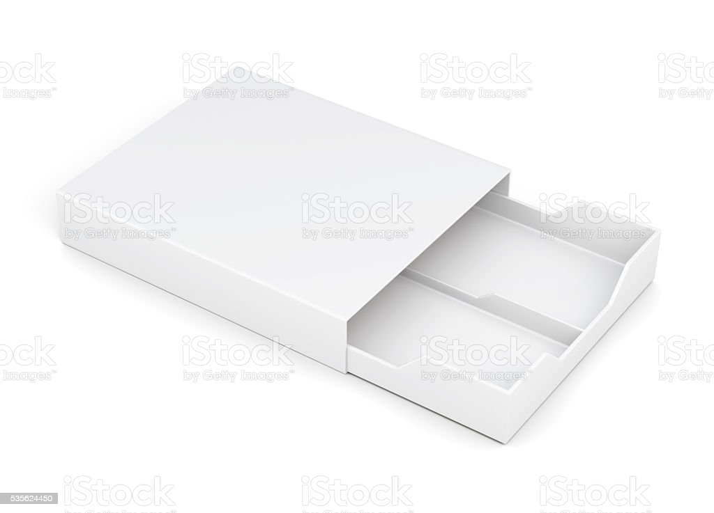Open drawer box isolated on white background. 3d rendering stock photo