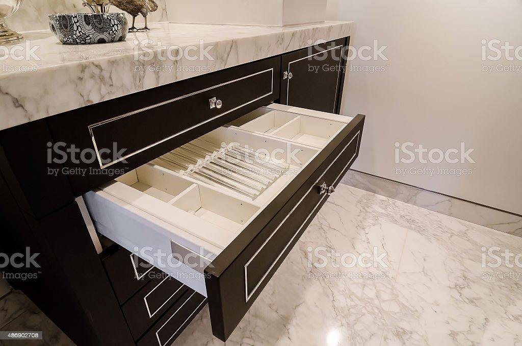 open drawer in stylish bathroom stock photo