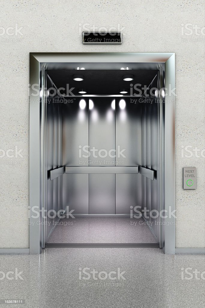 Open elevator stock photo