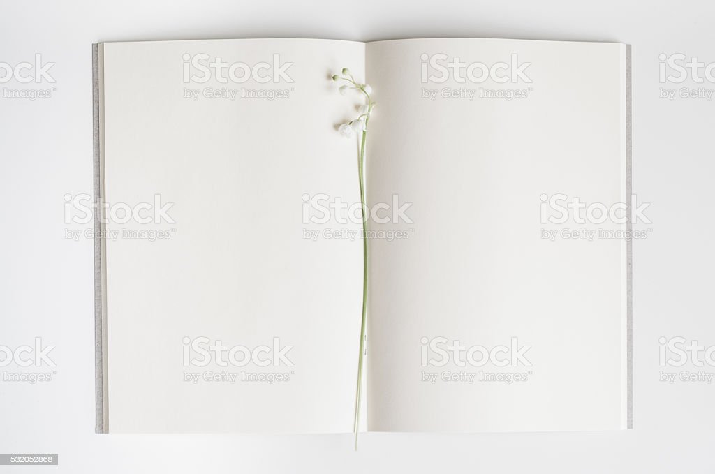 Open empty book with lily of the valley. stock photo
