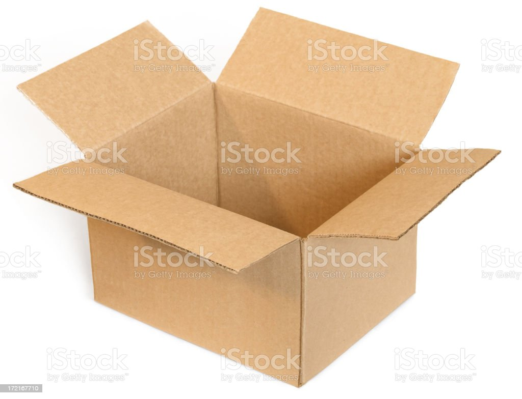 Open empty cardboard box on a white background stock photo