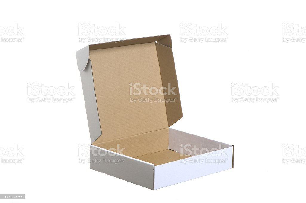 Open empty cardboard shipping box on a white background royalty-free stock photo