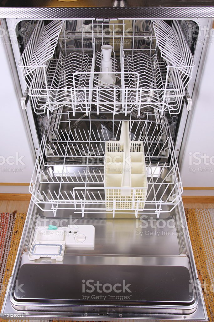 Open empty dishwasher royalty-free stock photo