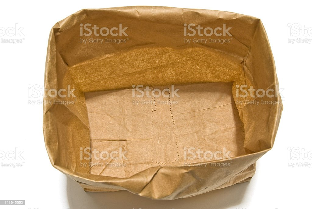 Open Empty Grocery Bag With Shadow Seen From Above royalty-free stock photo