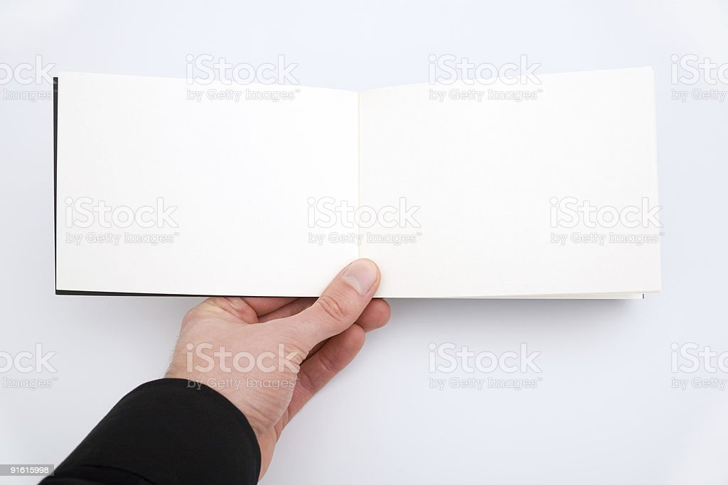 Open empty notebook/sketchbook to fill in. stock photo
