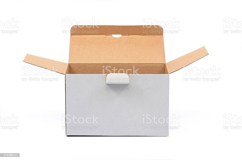 Open empty recycled cardboard box royalty-free stock photo
