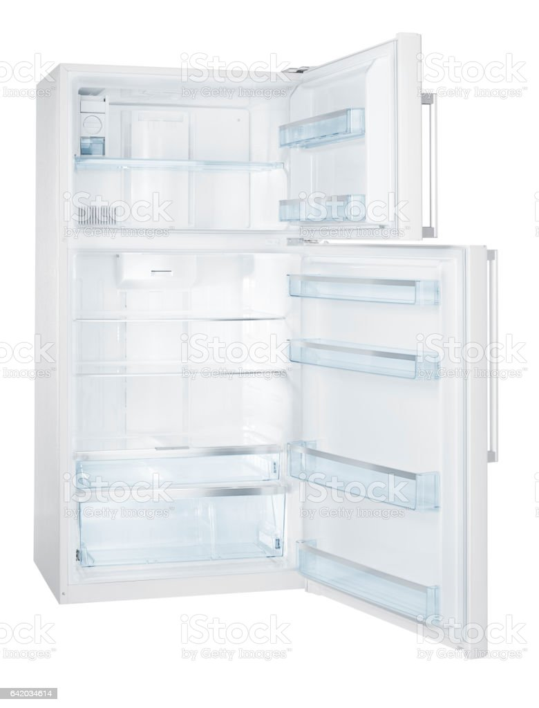 Open empty Refrigerator (isolated with clipping path over white background) stock photo