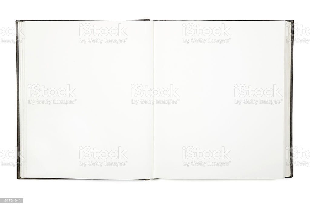 Open empty white hardcover book royalty-free stock photo