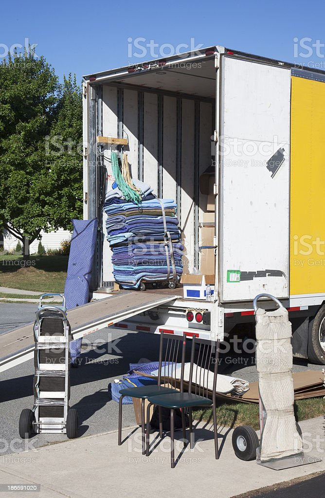 Open End of a Moving Truck stock photo
