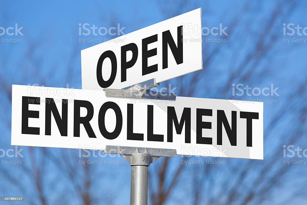 Open Enrollment Street Sign stock photo