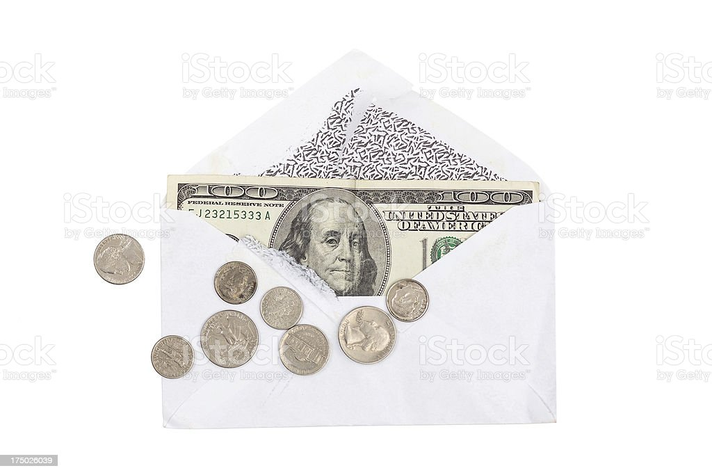 Open envelop with 100 dollar bill and coin royalty-free stock photo