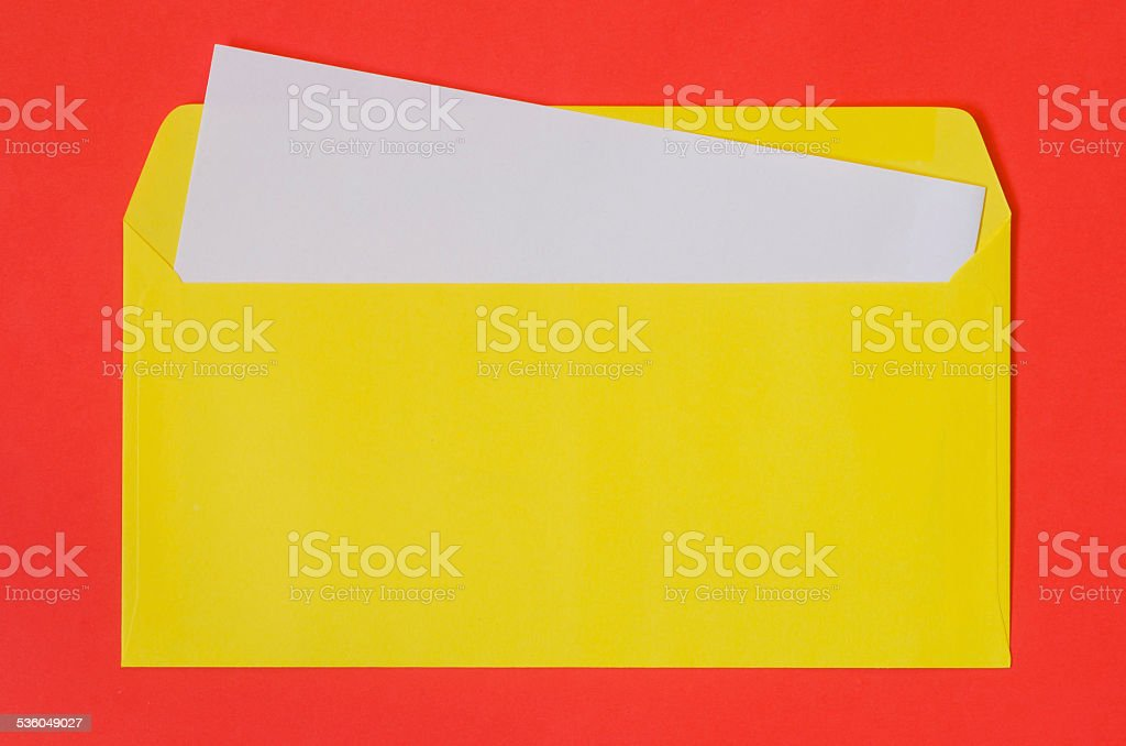 open envelope with blank paper stock photo
