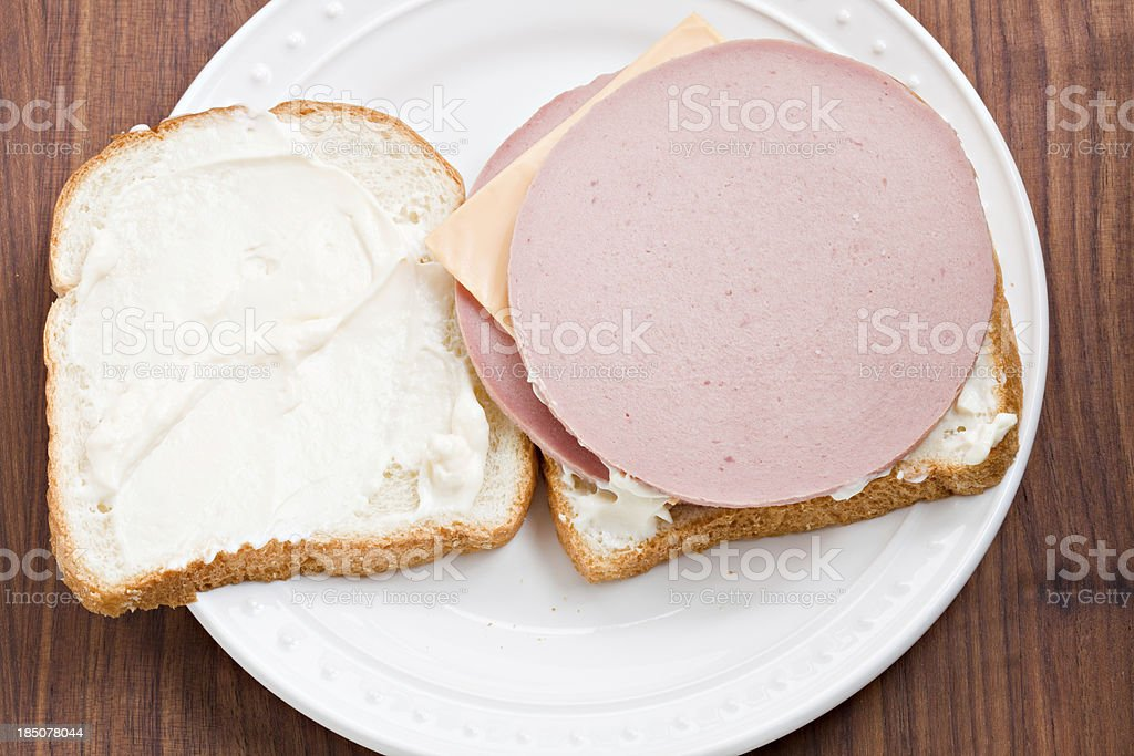 Open Face baloney and Cheese Sandwich stock photo