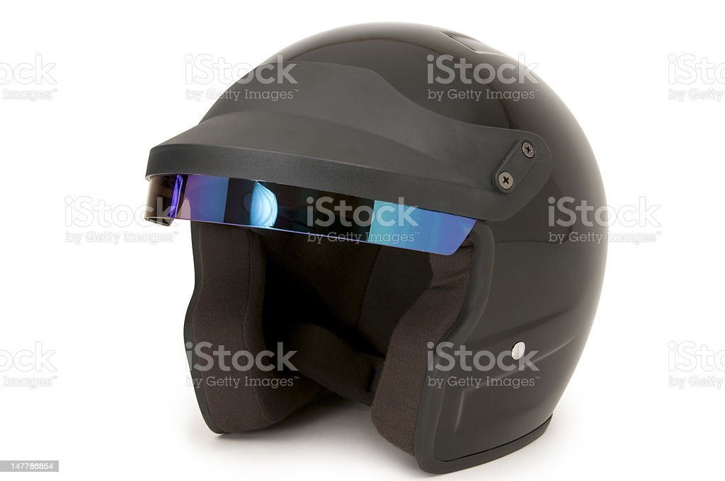 Open Face Racing Helmet on White royalty-free stock photo