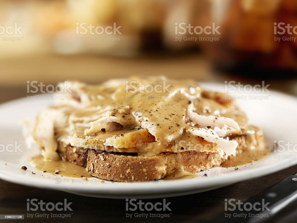 Open Face Roasted Turkey Sandwich with Gravy stock photo