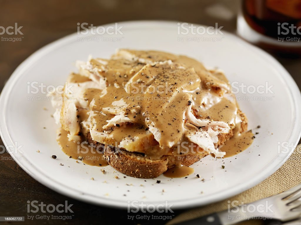 Open Face Roasted Turkey Sandwich with Gravy royalty-free stock photo