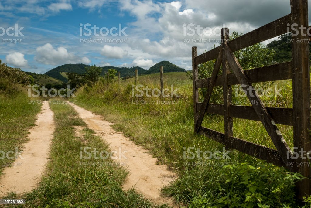 Open farm gate, welcome, Minas Gerais, Brazil stock photo