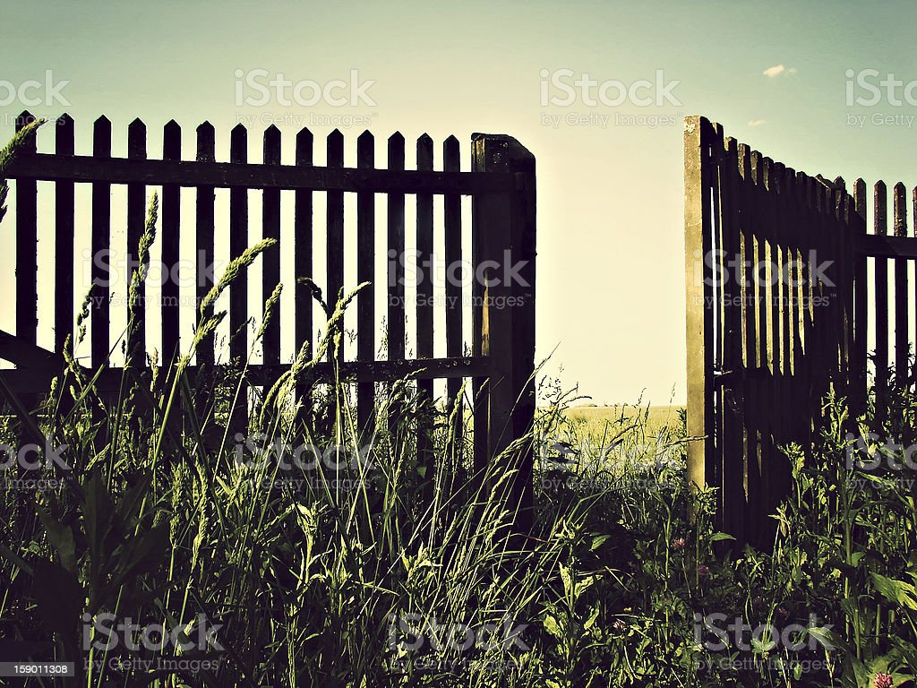 open fence stock photo