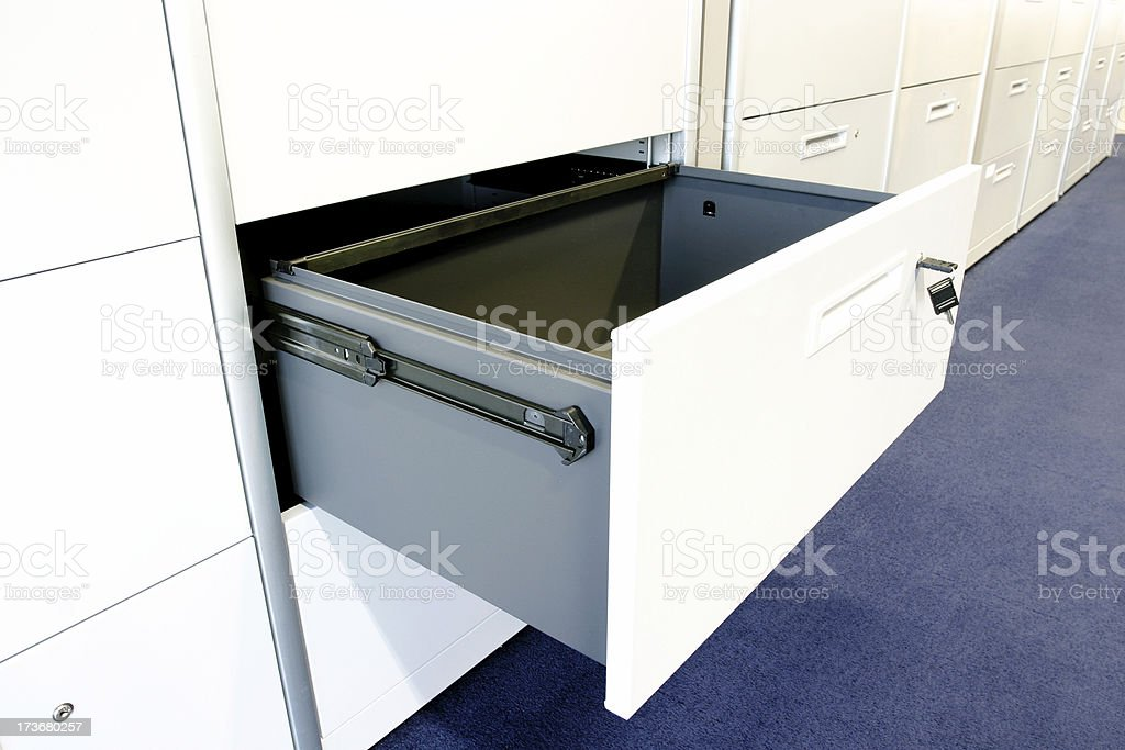 Open filing cabinet stock photo