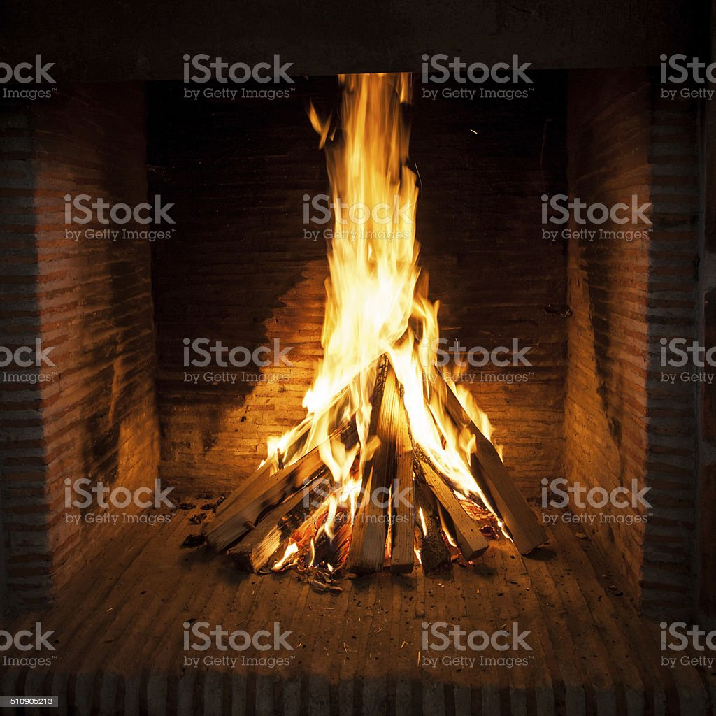 open fire place stock photo