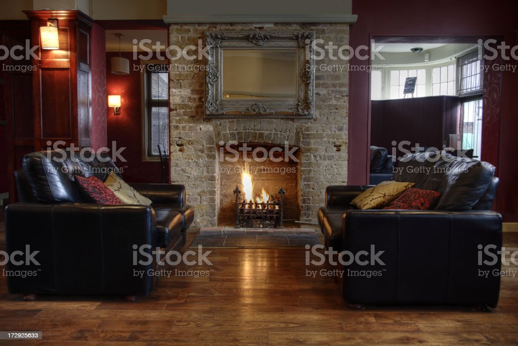 Open fireplace in a modern luxury home stock photo