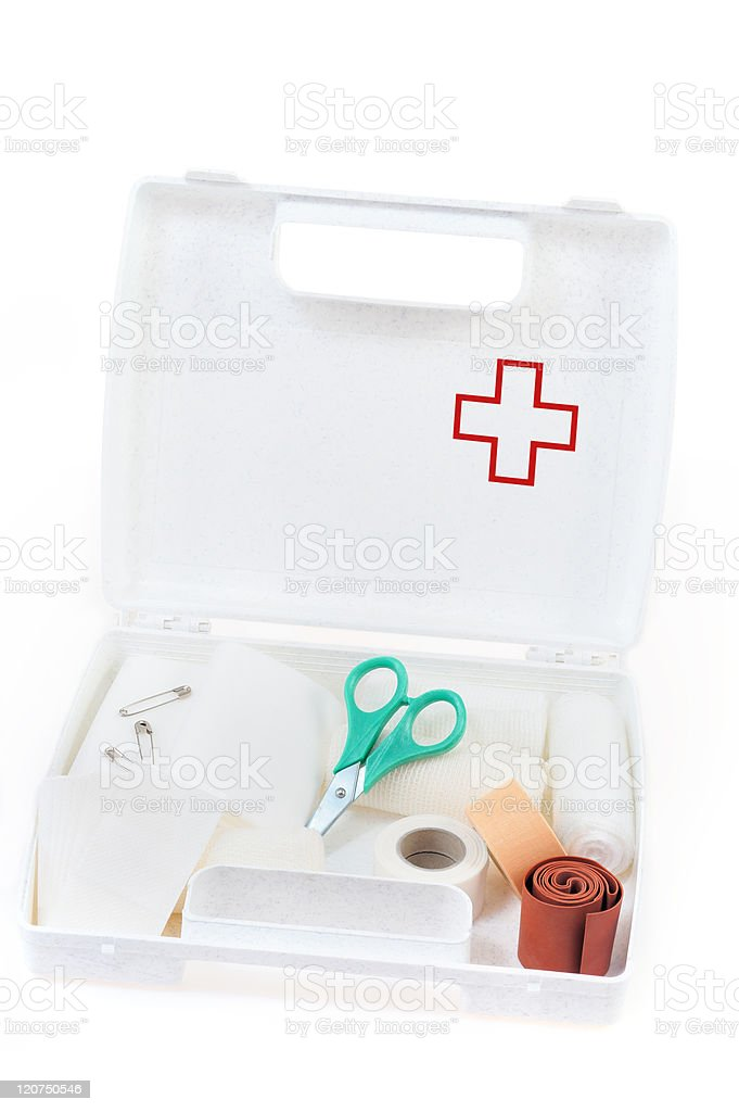 Open first aid kit isolated on white background royalty-free stock photo