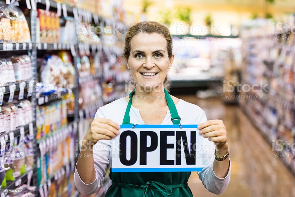 open for business stock photo