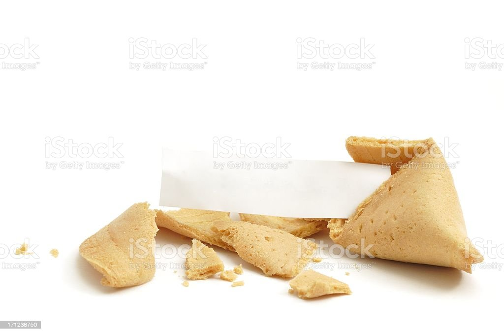 Open fortune cookie blank royalty-free stock photo