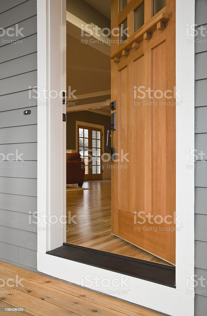 Open Front Door of a Home stock photo
