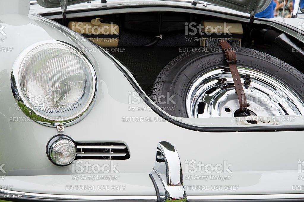 Open Front Hood of a Vintage Glacier White Porsche 356C stock photo