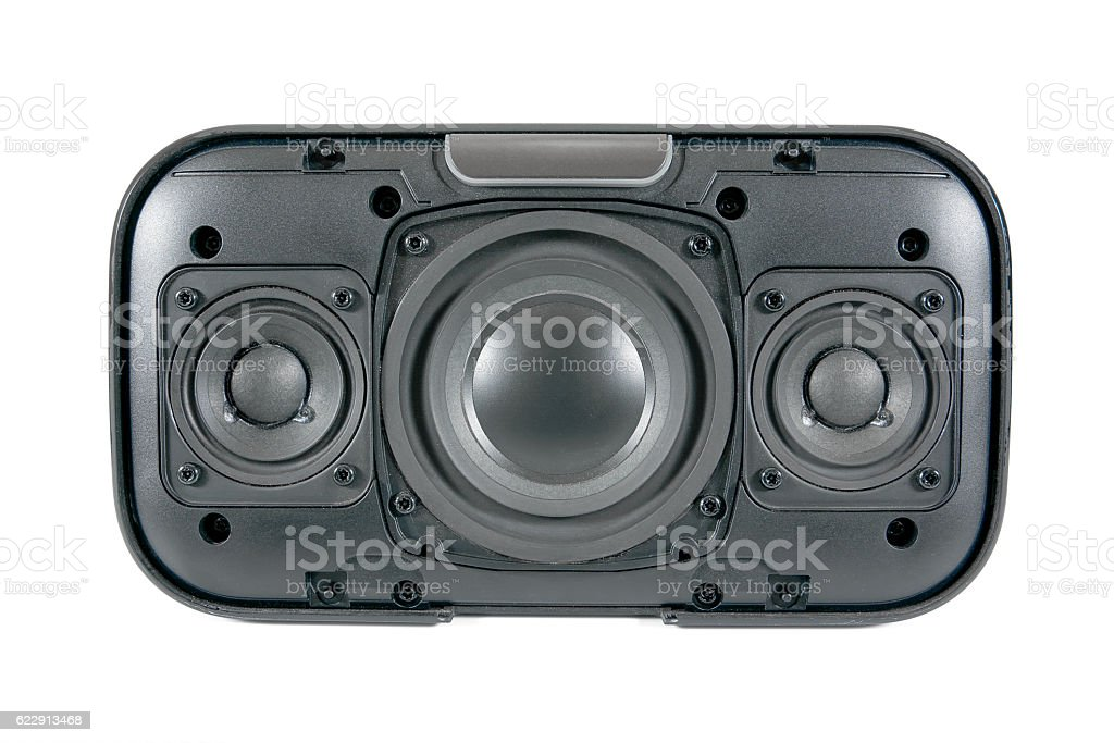 Open front of bluetooth speaker isolated on white background stock photo