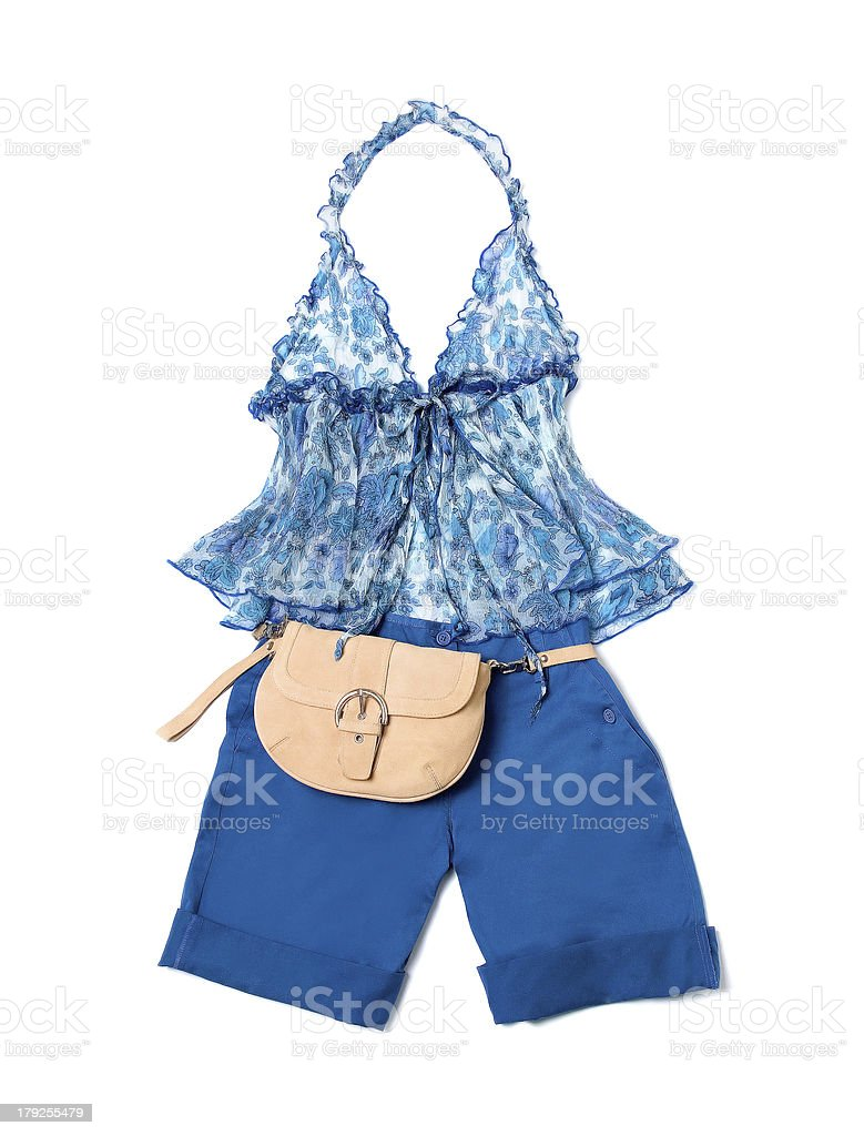 Open front tie empire line porcelain pattern halter klein shorts stock photo