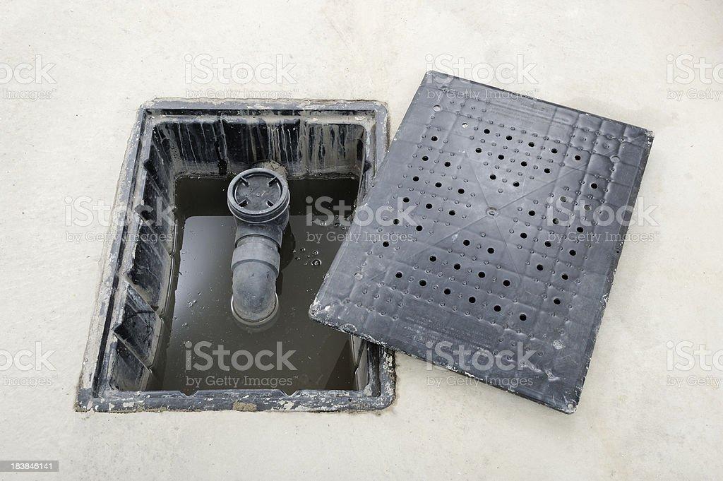 Open garage floor drain stock photo 183846141 istock for Drain de garage installation
