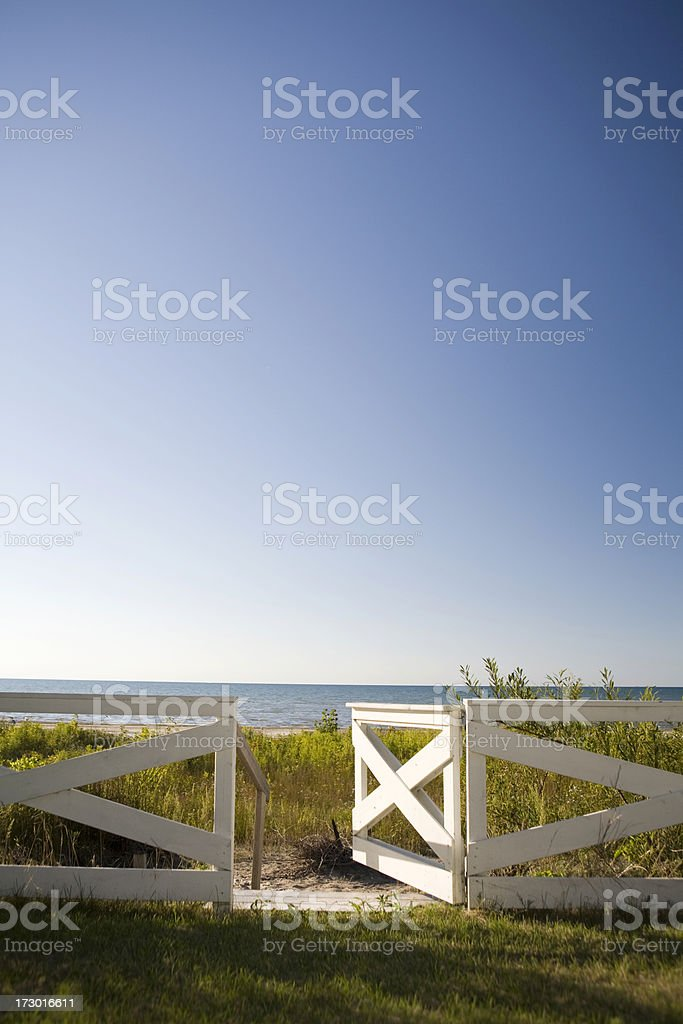 Open gate to the beach royalty-free stock photo