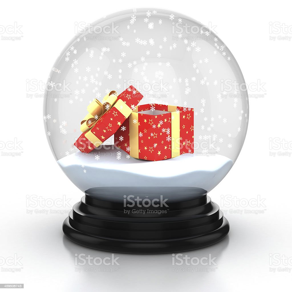 open gift box inside snow dome stock photo