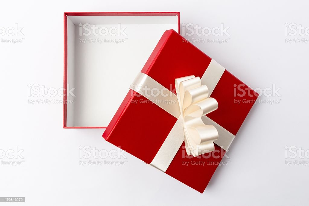 Open Gift Box - Top View stock photo