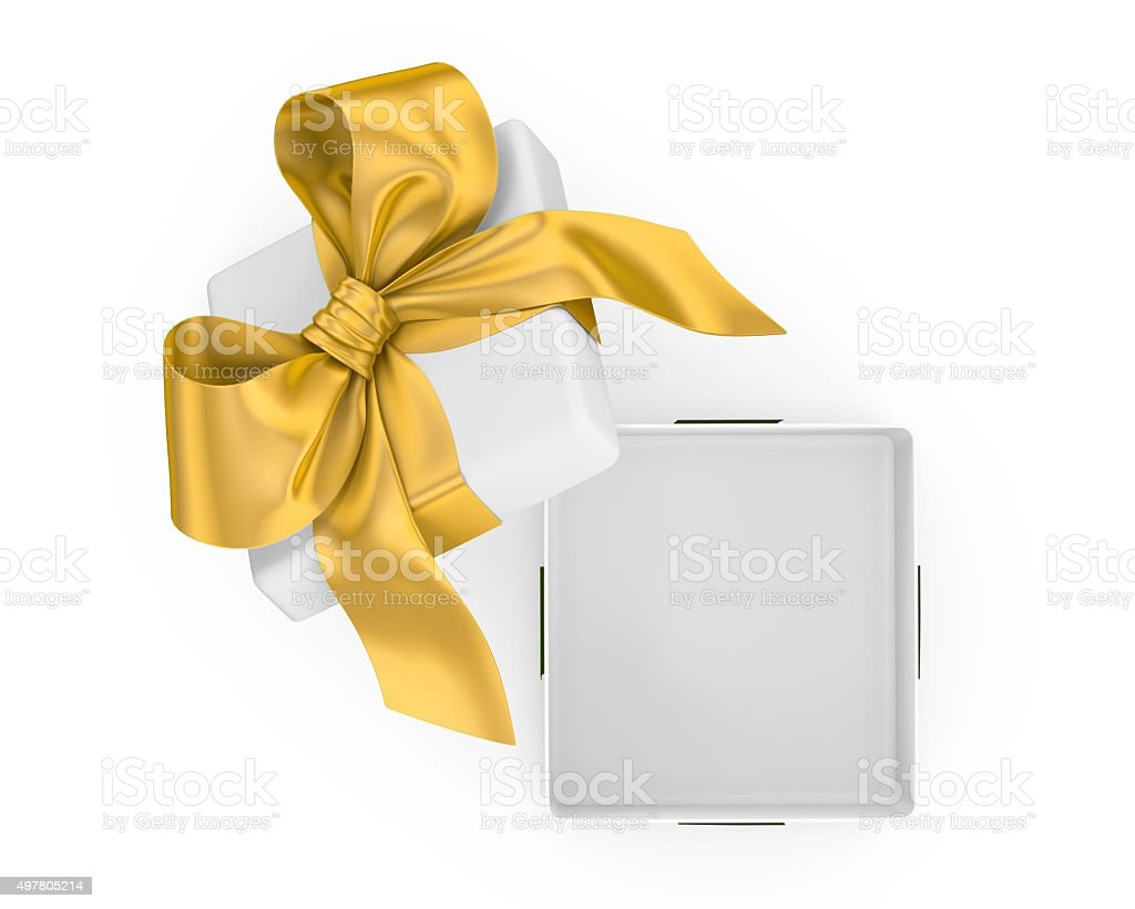 Open gift box with gold bow stock photo