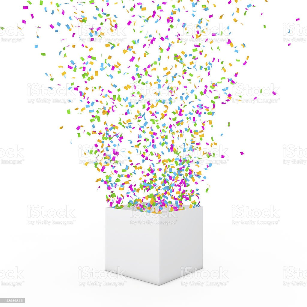 Open gift with fireworks stock photo
