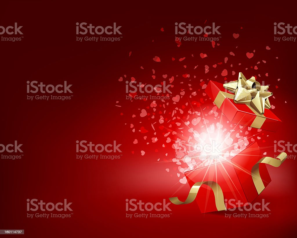 Open gift with heart shape fireworks royalty-free stock photo