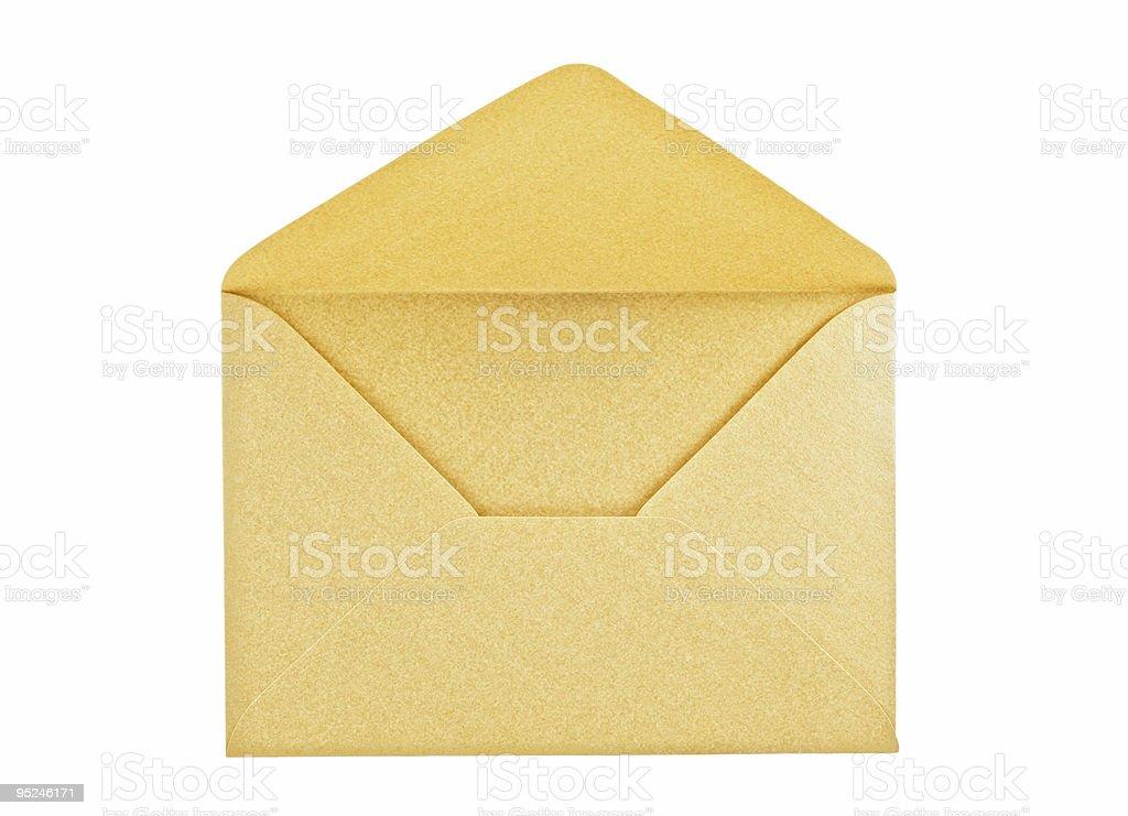 Open golden envelope stock photo