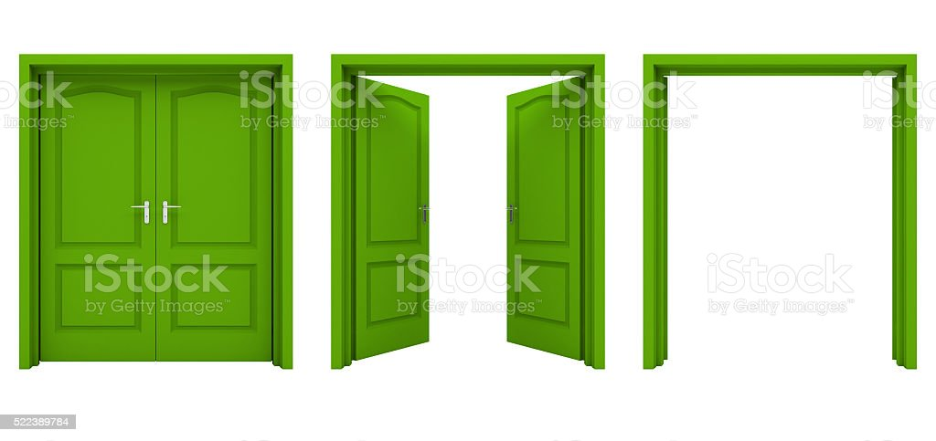 Open green double door isolated on a white background. stock photo
