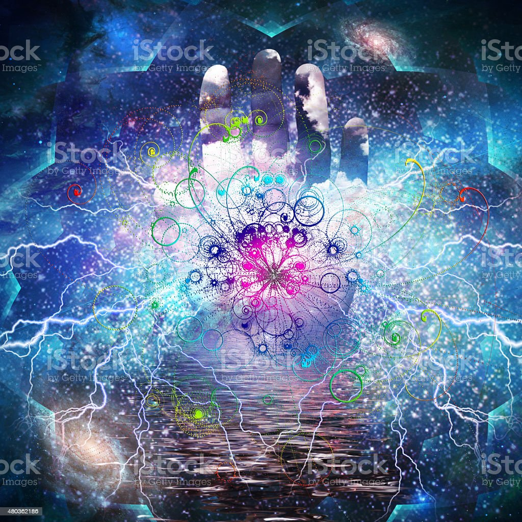 Open hand and particle design vector art illustration