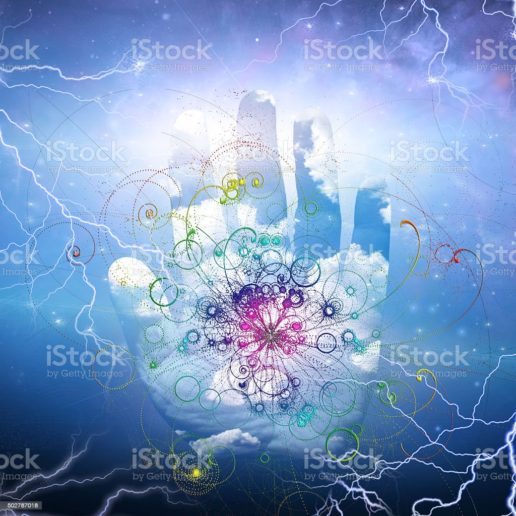 Open hand and particle design stock photo
