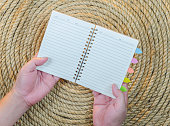Open Hand Book on a jute rope background
